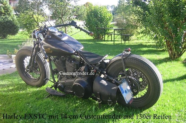 Harley Davidson FXSTC mit 14 cm Customfender und 130er Reifen
