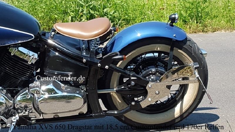 Yamaha XVS 650 Dragstar mit 18,5 cm Customfender und 170er Reifen